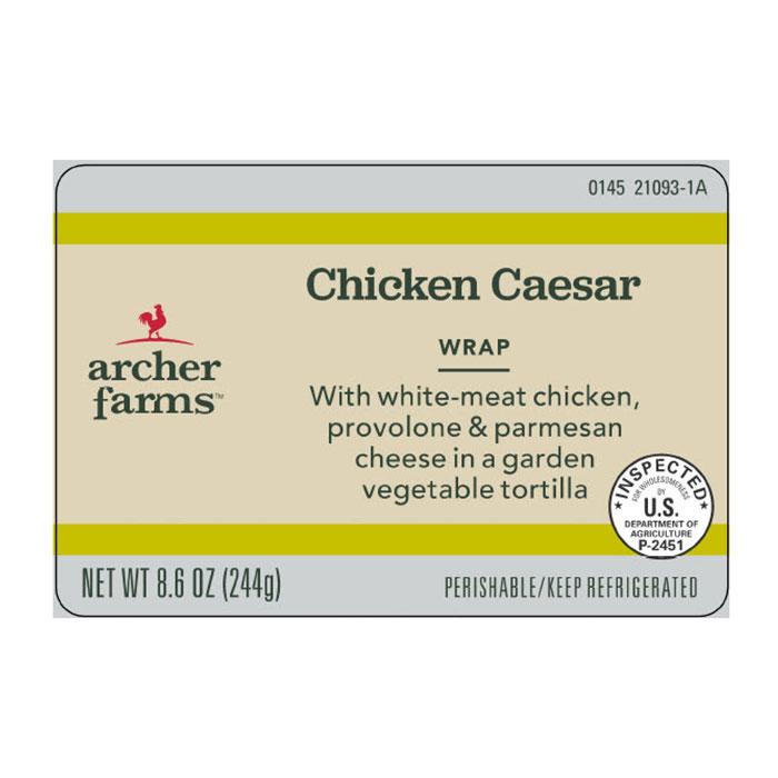 Archer Farms Chicken Caesar wrap label