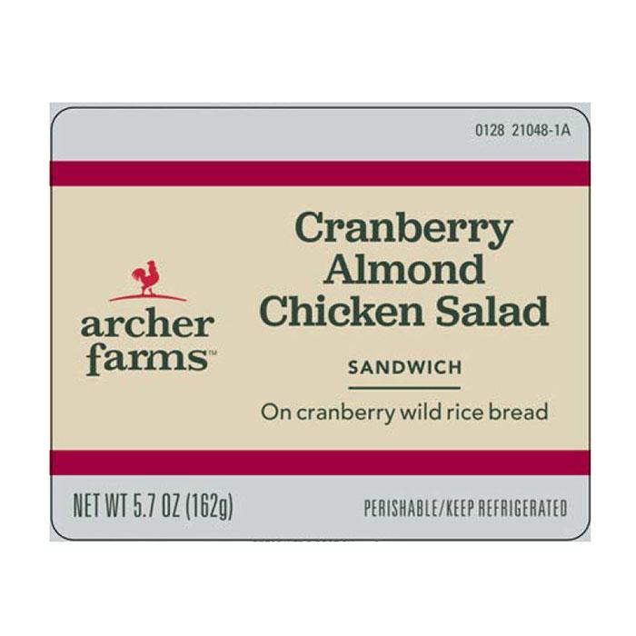 Archer Farms Cranberry Almond Chicken Salad sandwich label