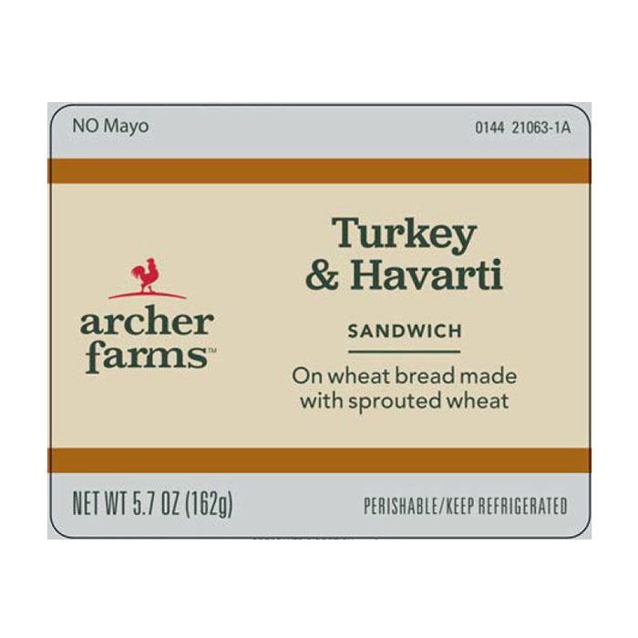 Archer Farms Turkey & Havarti sandwich label