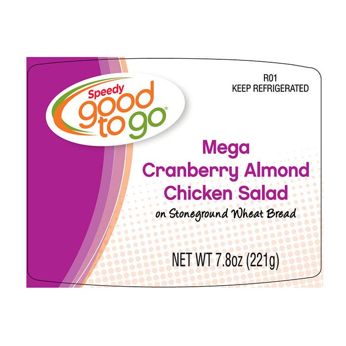 Speedy good to go Mega Cranberry Almond Chicken Salad label