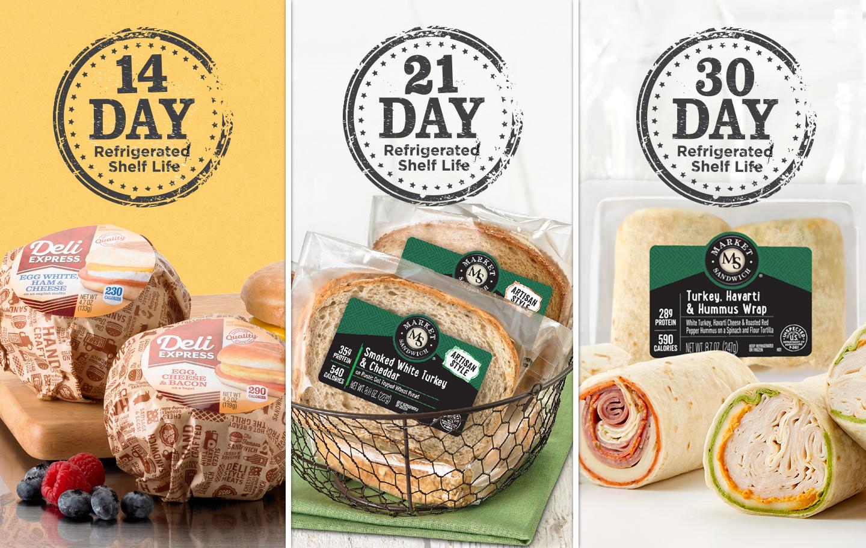 DeliExpress: 14 day refrigerated shelf life, Market Sandwich sandwiches: 21 day refrigerated shelf life, Market Sandwich wraps: 30 day refrigerated shelf life