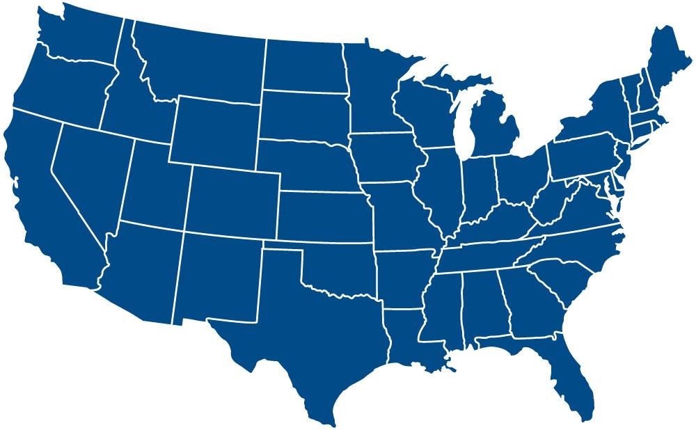 EAS Sween Career locations on U.S. Map. States include Nevada, Utah, Colorado, Oklahoma, Texas, Minnesota, Illinois and Indiana.